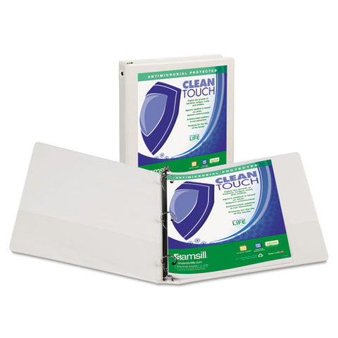 "Clean Touch Round Ring View Binder Protected W-antimicrobial Additive, 3 Rings, 4"" Capacity, 11 X 8.5, White"
