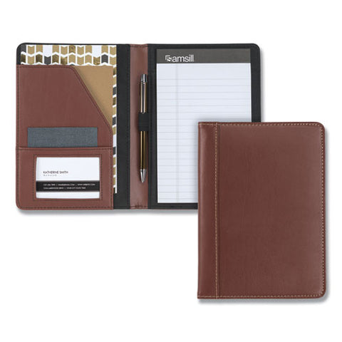 Contrast Stitch Leather Padfolio, 6 1-4w X 8 3-4h, Open Style, Brown