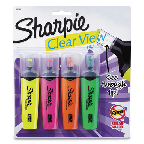 Clearview Tank-style Highlighter, Blade Chisel Tip, Assorted Colors, 4-set