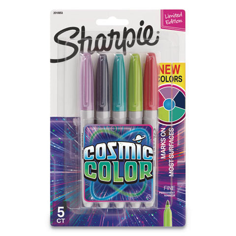 Cosmic Color Permanent Markers, Medium Bullet Tip, Assorted Colors, 5-pack