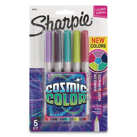 Cosmic Color Permanent Markers, Extra-fine Needle Tip, Assorted Colors, 5-pack