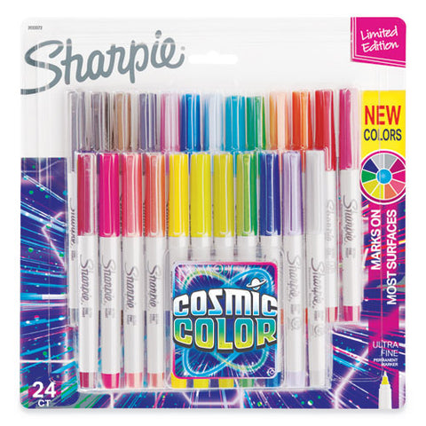 Cosmic Color Permanent Markers, Extra-fine Needle Tip, Assorted Colors, 24-pack
