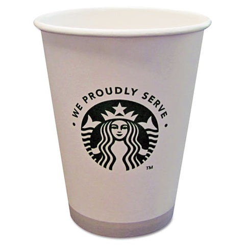 Hot Cups, 12oz, White With Green Logo, 1000-carton