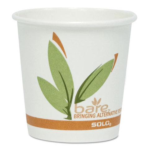 Bare By Solo Eco-forward Recycled Content Pcf Paper Hot Cups, 4 Oz, 1,000-carton