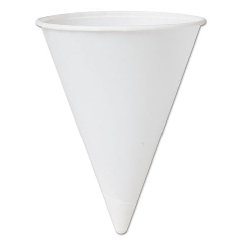 Bare Treated Paper Cone Water Cups, 4 1-4 Oz., White, 200-bag