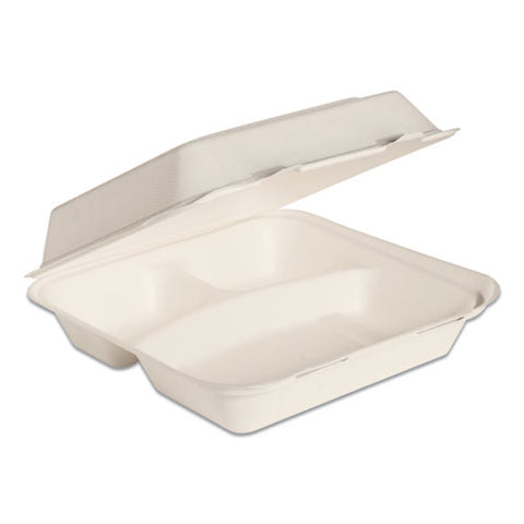 Bare By Solo Eco-forward Bagasse Hinged Lid Containers, 3-compartment, 9.6 X 9.4 X 3.2, Ivory, 200-carton