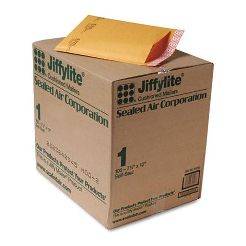 Jiffylite Self-seal Bubble Mailer, #1, Barrier Bubble Lining, Self-adhesive Closure, 7.25 X 12, Golden Kraft, 100-carton