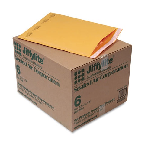 Jiffylite Self-seal Bubble Mailer, #6, Barrier Bubble Lining, Self-adhesive Closure, 12.5 X 19, Golden Brown Kraft, 50-carton