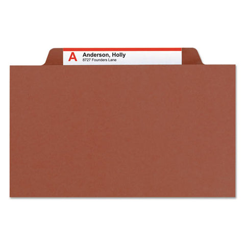 Pressboard Classification Folders With Safeshield Coated Fasteners, 2-5 Cut, 1 Divider, Legal Size, Red, 10-box