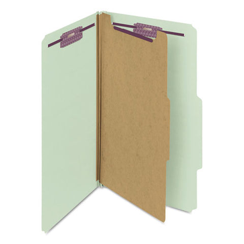 Pressboard Classification Folders With Safeshield Coated Fasteners, 2-5 Cut, 1 Divider, Legal Size, Gray-green, 10-box