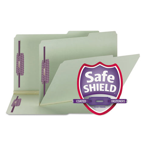 "Recycled Pressboard Folders W-two Safeshield Fasteners, 2-5-cut Tabs, Right Of Center, 2"" Exp, Legal Size, Gray-green, 25-box"