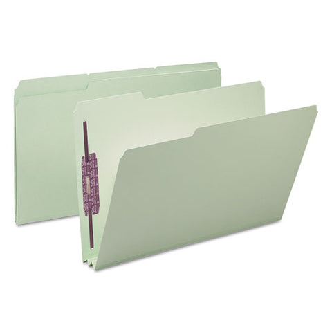 "Recycled Pressboard Folders With Two Safeshield Coated Fasteners, 1-3-cut Tabs, 2"" Expansion, Legal Size, Gray-green, 25-box"