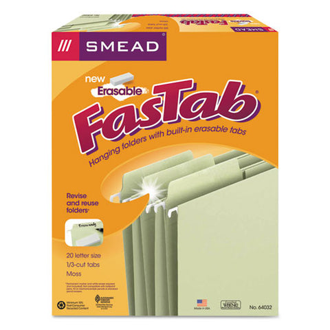 Erasable Fastab Hanging Folders, Letter Size, 1-3-cut Tab, Moss, 20-box