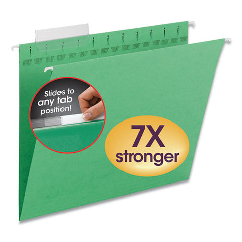 Tuff Hanging Folders With Easy Slide Tab, Letter Size, 1-3-cut Tab, Green, 18-box