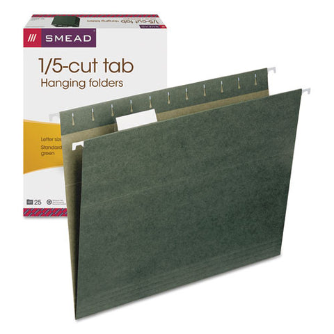 Hanging Folders, Letter Size, 1-5-cut Tab, Standard Green, 25-box
