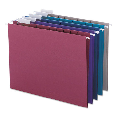 Colored Hanging File Folders, Letter Size, 1-5-cut Tab, Assorted, 25-box