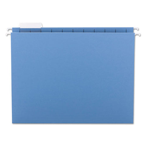 Colored Hanging File Folders, Letter Size, 1-5-cut Tab, Blue, 25-box