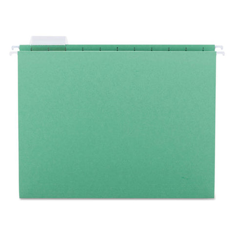 Colored Hanging File Folders, Letter Size, 1-5-cut Tab, Green, 25-box