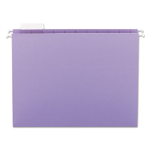 Colored Hanging File Folders, Letter Size, 1-5-cut Tab, Lavender, 25-box