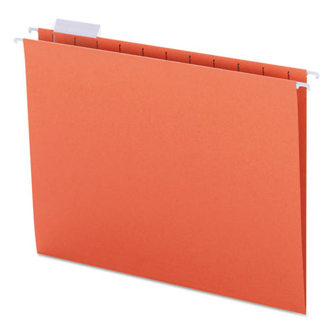 Colored Hanging File Folders, Letter Size, 1-5-cut Tab, Orange, 25-box