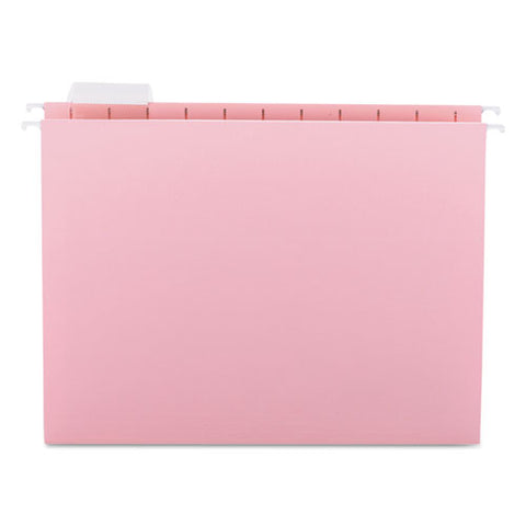 Colored Hanging File Folders, Letter Size, 1-5-cut Tab, Pink, 25-box
