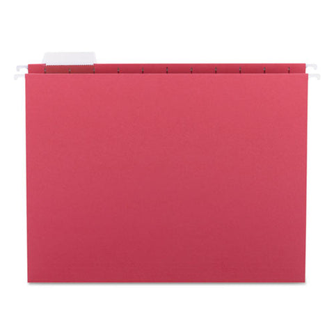 Colored Hanging File Folders, Letter Size, 1-5-cut Tab, Red, 25-box