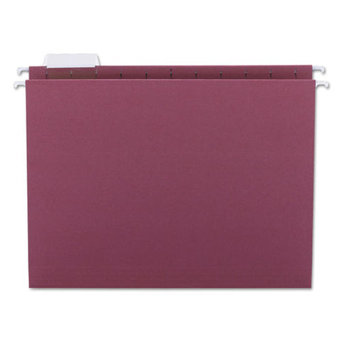 Colored Hanging File Folders, Letter Size, 1-5-cut Tab, Maroon, 25-box