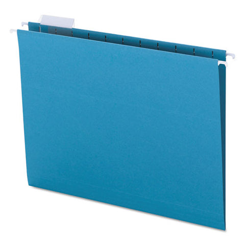 Colored Hanging File Folders, Letter Size, 1-5-cut Tab, Teal, 25-box