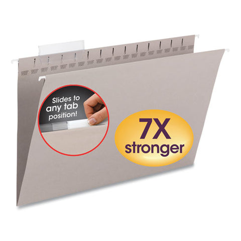 Tuff Hanging Folders With Easy Slide Tab, Legal Size, 1-3-cut Tab, Steel Gray, 18-box