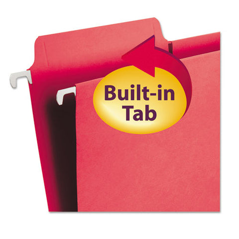 Fastab Hanging Folders, Letter Size, 1-3-cut Tab, Red, 20-box
