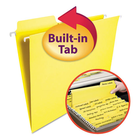 Fastab Hanging Folders, Letter Size, 1-3-cut Tab, Yellow, 20-box
