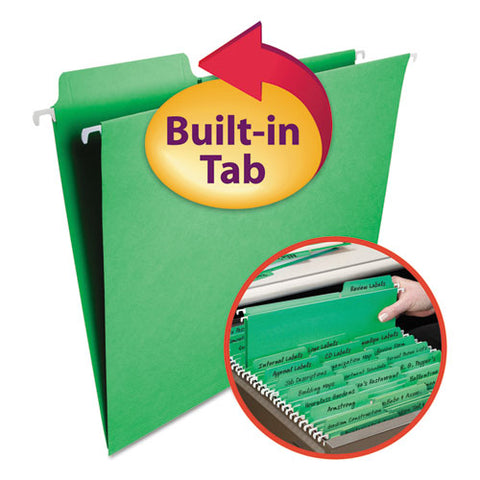 Fastab Hanging Folders, Letter Size, 1-3-cut Tab, Green, 20-box
