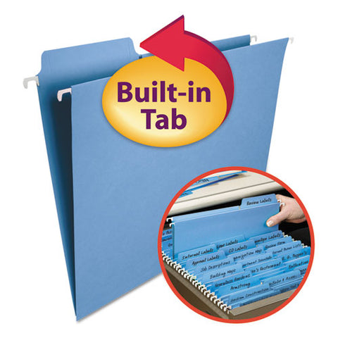Fastab Hanging Folders, Letter Size, 1-3-cut Tab, Blue, 20-box