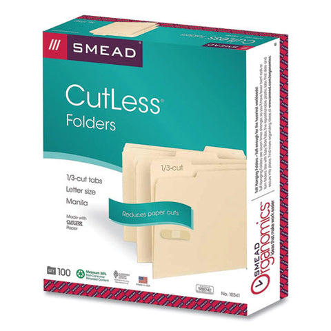 Cutless File Folders, 1-3-cut Tabs, Letter Size, Manila, 100-box