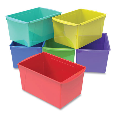 "Double Xl Wide Interlocking Book Bins, 9.2"" X 14.5"" X 7"", Assorted Bright Colors, 6-carton"