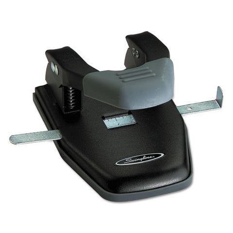 "28-sheet Comfort Handle Steel Two-hole Punch, 1-4"" Holes, Black-gray"
