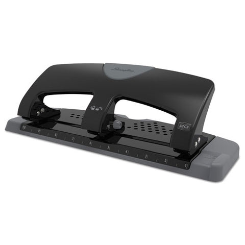 "20-sheet Smarttouch Three-hole Punch, 9-32"" Holes, Black-gray"
