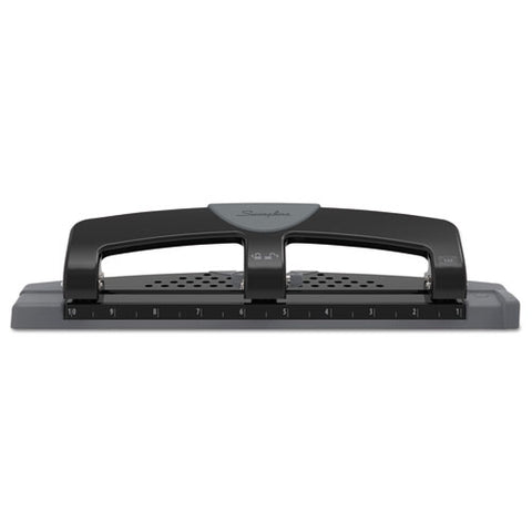 "12-sheet Smarttouch Three-hole Punch, 9-32"" Holes, Black-gray"