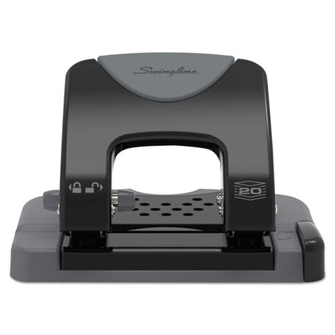 "20-sheet Smarttouch Two-hole Punch, 9-32"" Holes, Black-gray"