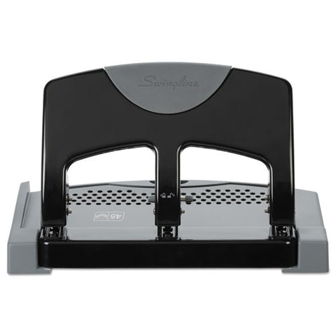 "45-sheet Smarttouch Three-hole Punch, 9-32"" Holes, Black-gray"