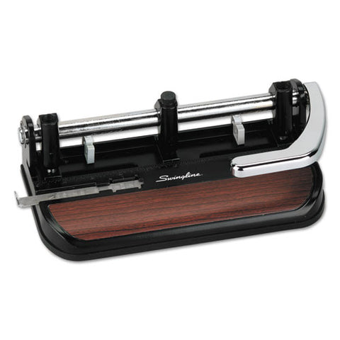 "40-sheet Heavy-duty Lever Action 2-to-7-hole Punch, 11-32"" Hole, Black-woodgrain"