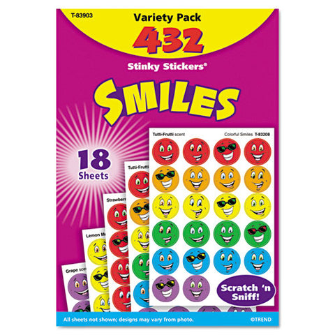 Stinky Stickers Variety Pack, Smiles, 432-pack