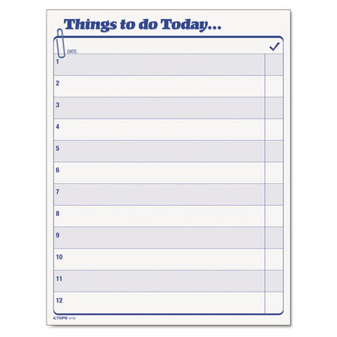 """things To Do Today"" Daily Agenda Pad, 8 1-2 X 11, 100 Forms"