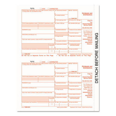 1099-div Tax Forms, 5-part, 5 1-2 X 8, Inkjet-laser, 24 1099s And 1 1096