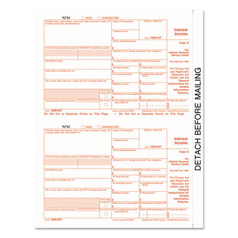 1099-int Tax Forms, 5-part, 5 1-2 X 8, Inkjet-laser, 24-pack