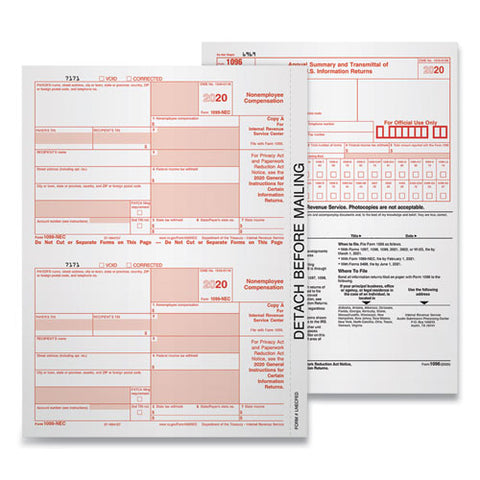5-part 1099-nec Tax Forms, 8.5 X 11, 50-pack
