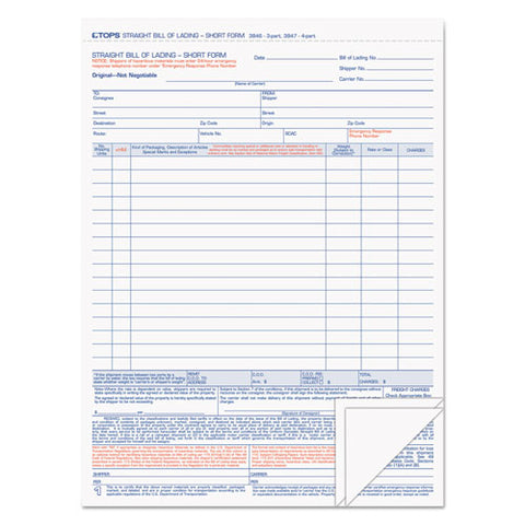 Bill Of Lading,16-line, 8-1-2 X 11, Three-part Carbonless, 50 Forms