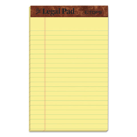 """the Legal Pad"" Perforated Pads, Narrow Rule, 5 X 8, Canary, 50 Sheets, Dozen"