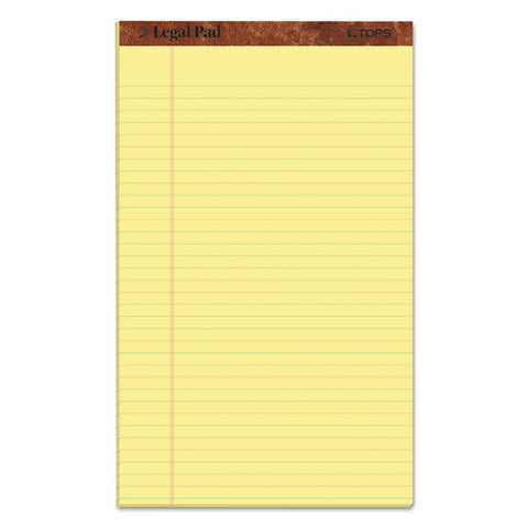 """the Legal Pad"" Perforated Pads, Wide-legal Rule, 8.5 X 14, Canary, 50 Sheets, Dozen"