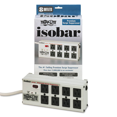 Isobar Surge Protector, 8 Outlets, 12 Ft Cord, 3840 Joules, Metal Housing